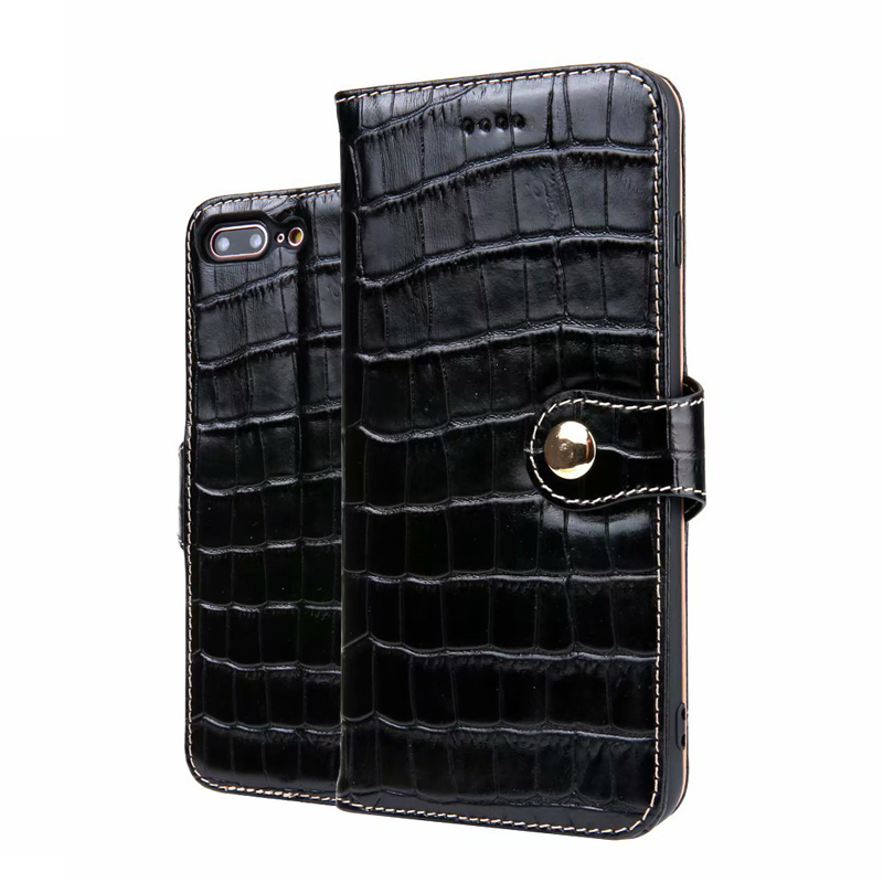CKHB Phone Leather Case For iPhone 7 8 Plus Crocodile Wallet style Flip Case For iPhone