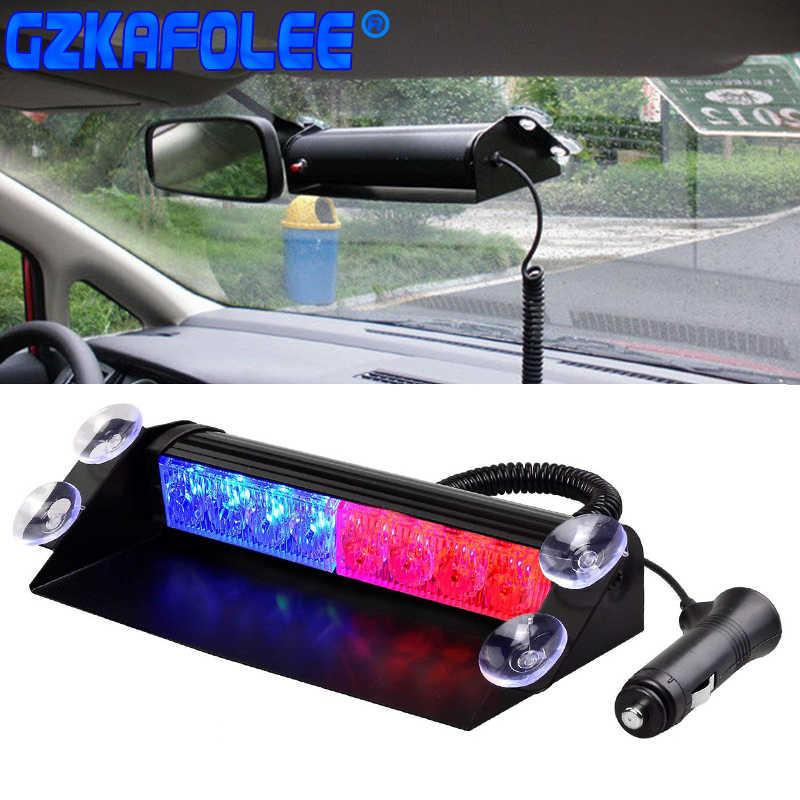 Luz de advertencia estroboscópica para luz intermitente de emergencia de camiones y coches, luces de policía Led de día, 8 Led, 3 modos de parpadeo de 12V