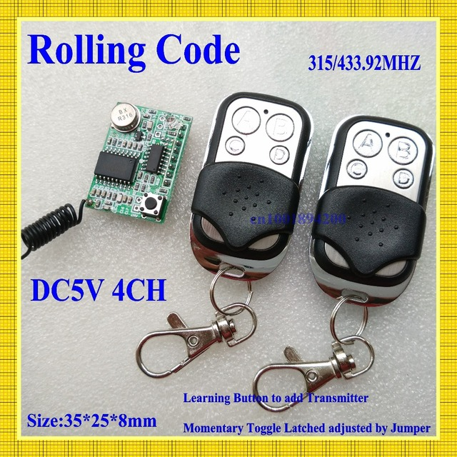 RF Rolling Code Decoding Receiver Module + 2 Transmitters  DC 5V 4CH TTL Output Learning Momentary Toggle Latched RX TX 315/433