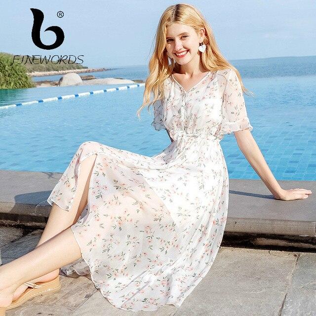 4656d63cb8502 Aliexpress.com : Buy FINEWORDS 2018 vestido Elegant Summer Dress Beach  Bohemian Floral Print Chiffon Dress Plus Size Chic Harajuku Cute Party  Dresses ...