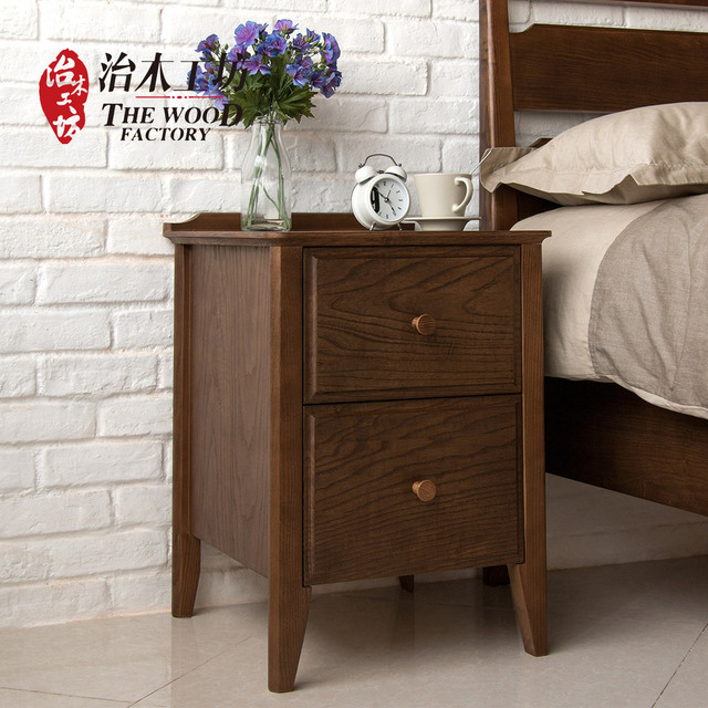 Pure Solid Wood Bedside Cabinet Minimalist American Black Walnut Green Lockers With Drawers Red Oak Bedroom Furniture