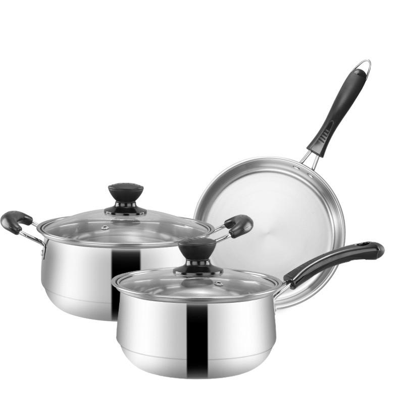 Batterie de cuisine en acier inoxydable ensemble cadeau cuisine 5 pièces ensembles 22 cm Pot à soupe 18 cm Pot de lait et 4 cm poêle cuisine outils de cuisson ensemble - 4