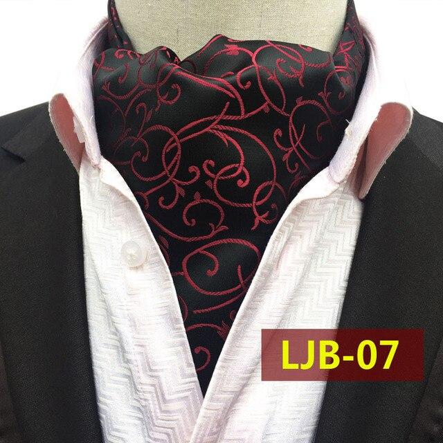Большой Размер Мужской Моды Элегантный Воротник Платок Черный с Красным Классический Пейсли Шейные Платки для Свадебного Банкета