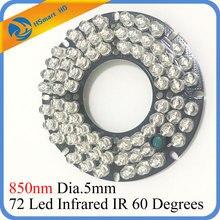 72 LEDS 5mm Infrared IR Illuminator For CCTV HD 2.0MP AHD TVI CVI WIFI 1080P IP Camera 60 / 90 Degree 850nm Bulb 12V DC
