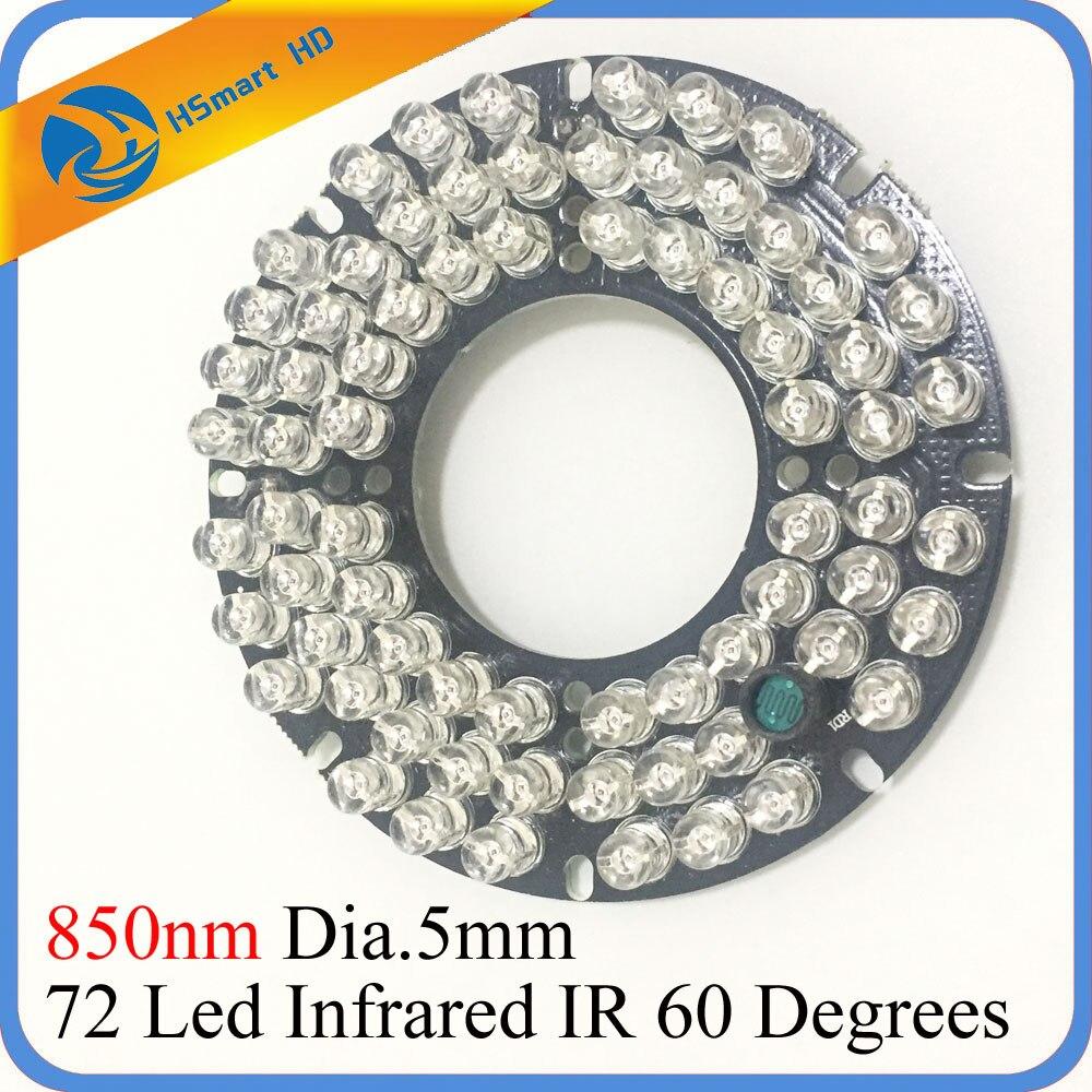 72 led 5mm infrarouge IR illuminateur pour CCTV HD 2.0MP AHD TVI CVI WIFI 1080 P IP caméra 60/90 degrés 850nm ampoule 12 V DC