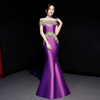 Off Shoulder Purple Appliques Novelty Female Chinese Prom Dress Vestidos Sexy Slim Tight Mermaid Dresses Long Boat Neck Qipao