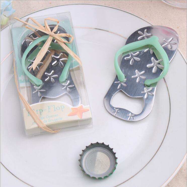 Flip Flop Wine Bottle Opener With Starfish Design 40PCS/LOT Wedding Favor Guest Gift Blue Rope With Pvc Box Ribbon And Rope