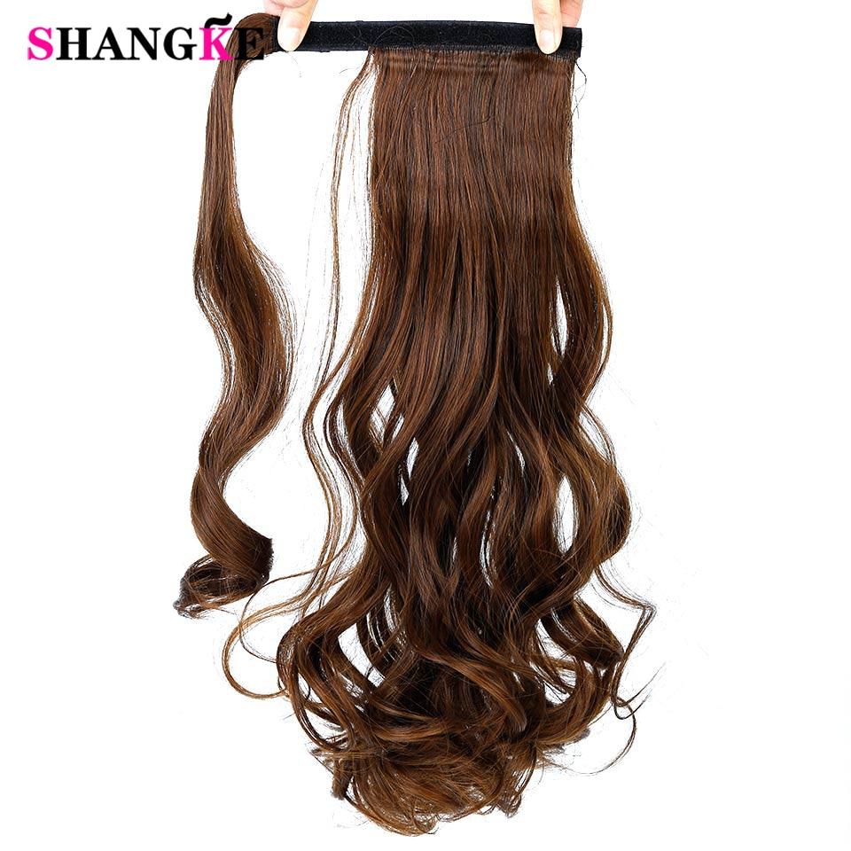 """SHANGKE22 """"ארוך גלישת קוקו טבעי קליפ ב פוני זנב שיער הרחבות לעטוף על שיער עמיד חום שיער ponytails שיער חתיכת"""