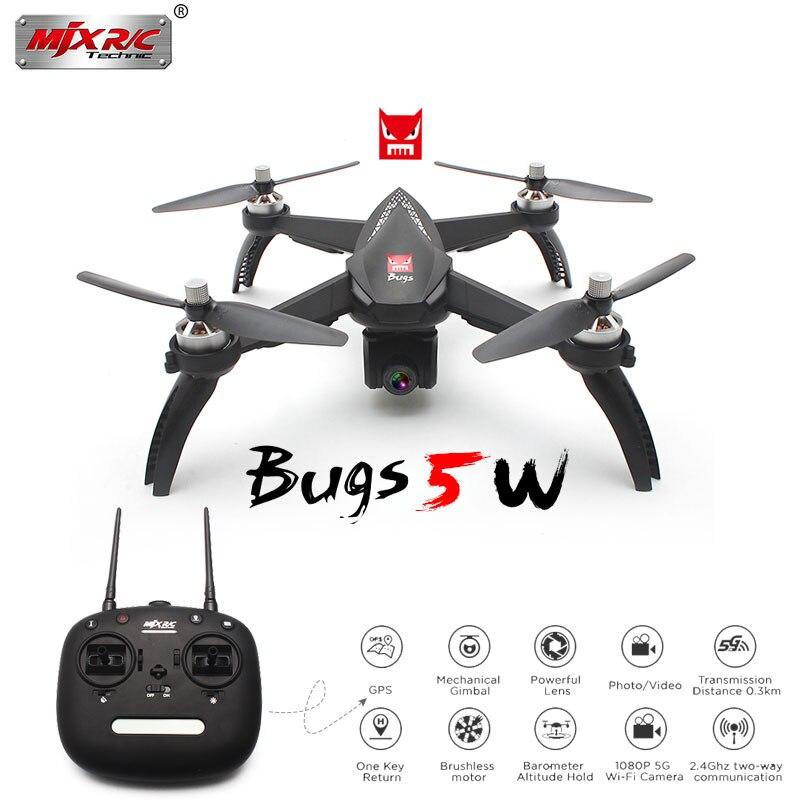Professionnel Drone MJX Bugs 5 w GPS Brushless Quadcopter avec 1080 p Wifi FPV Caméra RC Hélicoptère Vs Hubsan H501S 2 Batterie supplémentaire
