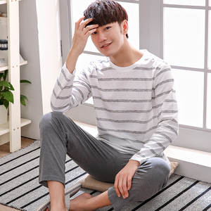 46856438cf BZEL Male Pajama Set Pyjamas Cotton For Men Sleepwear Sleep