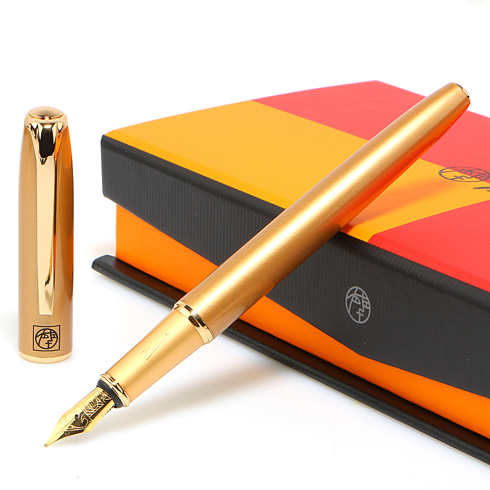 Top grade Gift box Gold color select students practice calligraphy Fountain Pen 0.38mm 0.5mm free shipping hero fountain pen students with art calligraphy or standard nib adult elbow gift box gift pen with box
