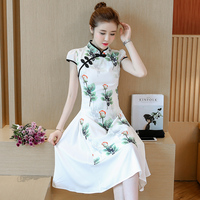 2018 New Black Red Traditional Chinese Dress Women S Satin Long Cheongsam Qipao Flower