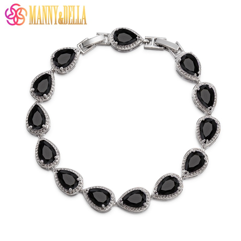Occident Style Black Zircon Water Drop 925 Sterling Silver Link Bracelet Length 21CM Women Jewelry Trinket