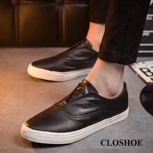 CLOSHOE Nova Primavera Sneakers para Homens Preto Ir com Loafers Estudantes sapatos casuais