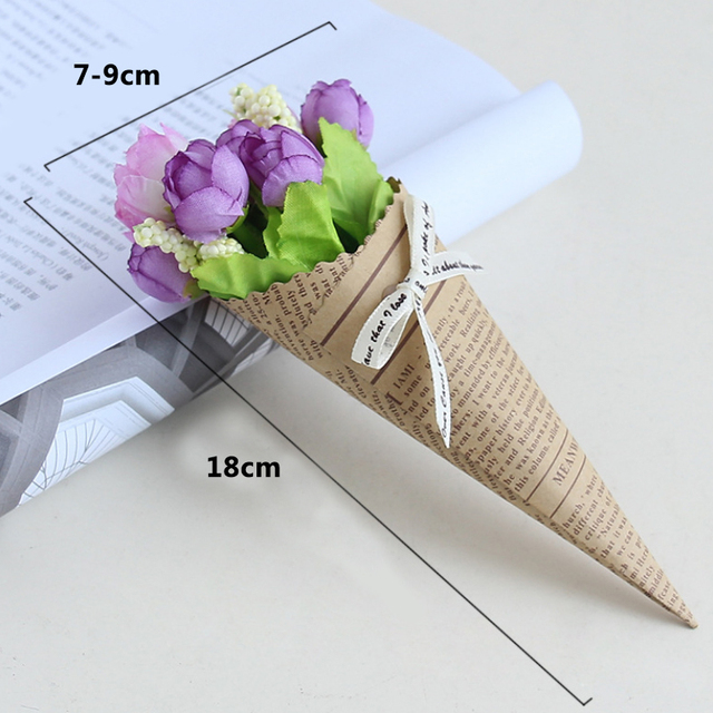 New Mini Paper tube Artificial Plants Wedding Flower Photo props bouquet flowers Birthday Present Home Decoration Fake Flowers 3