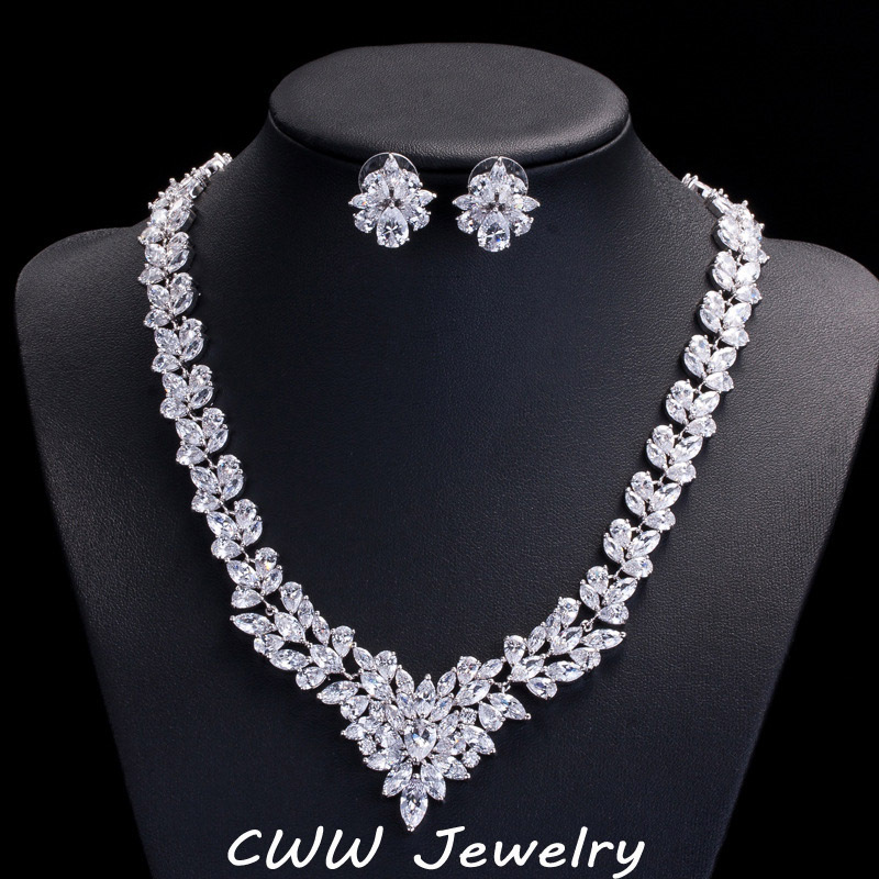 CWWZircons High Quality African Cubic Zirconia Wedding Jewelry Sets Long Crystal Bridal Necklace And Earring Set For Brides T117 cwwzircons long water drop cubic zirconia stone big vintage royal wedding necklace and earring jewelry set for brides t205