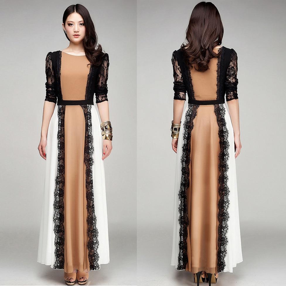 Vestido High Quality New Fashion 2018 elegant Vintage Maxi Dress Women Long Sleeve chiffon dress summer