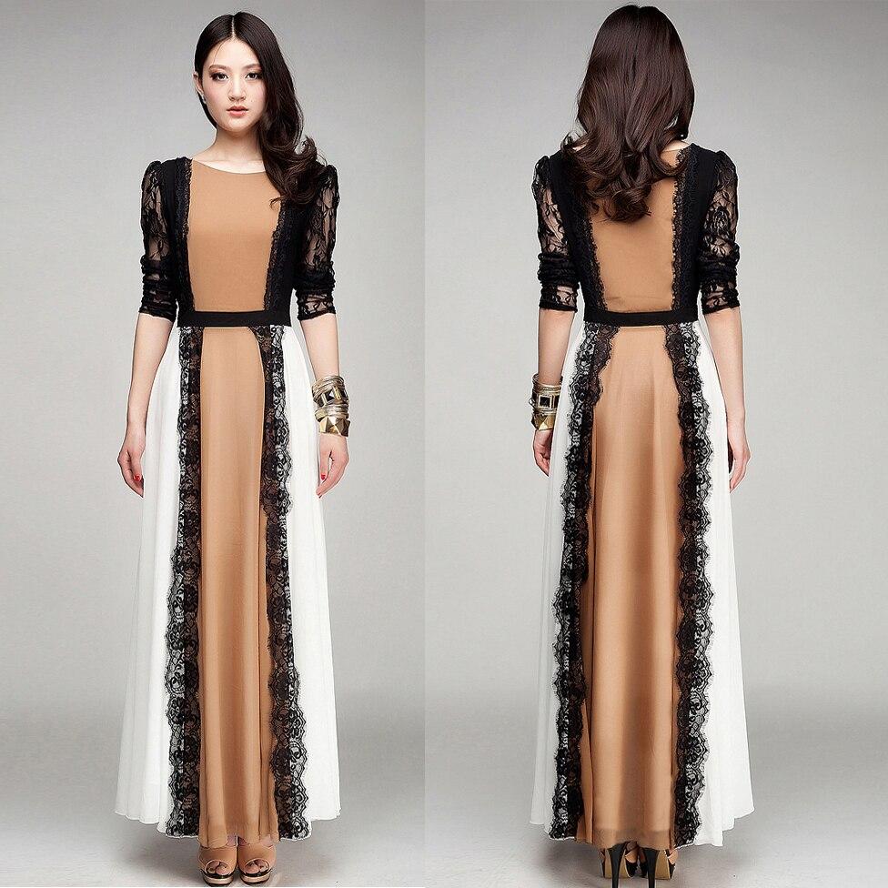 Vestido haute qualité nouvelle mode 2018 élégante Vintage Maxi robe femmes à manches longues en mousseline de soie robe d'été longue robe