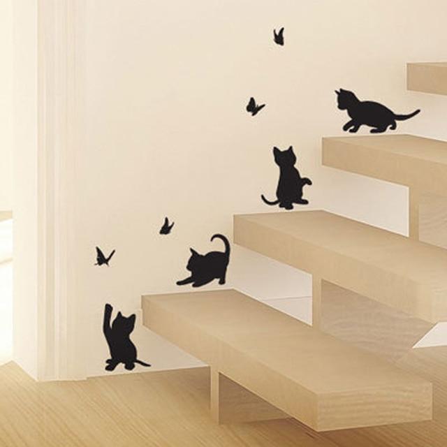 Vlinder Decoratie Babykamer.Kinderkamer Decoratie Muurstickers Enfant Leuke Katten Cartoon