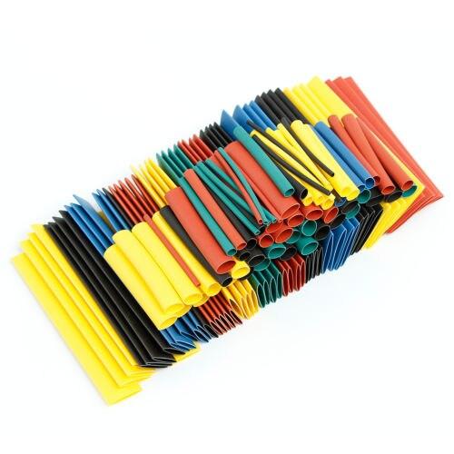328 pçs/set sleeving envoltório fio carro elétrico shrinkable cabo tubo kits tubo de psiquiatra calor poliolefin 8 tamanhos cor misturada