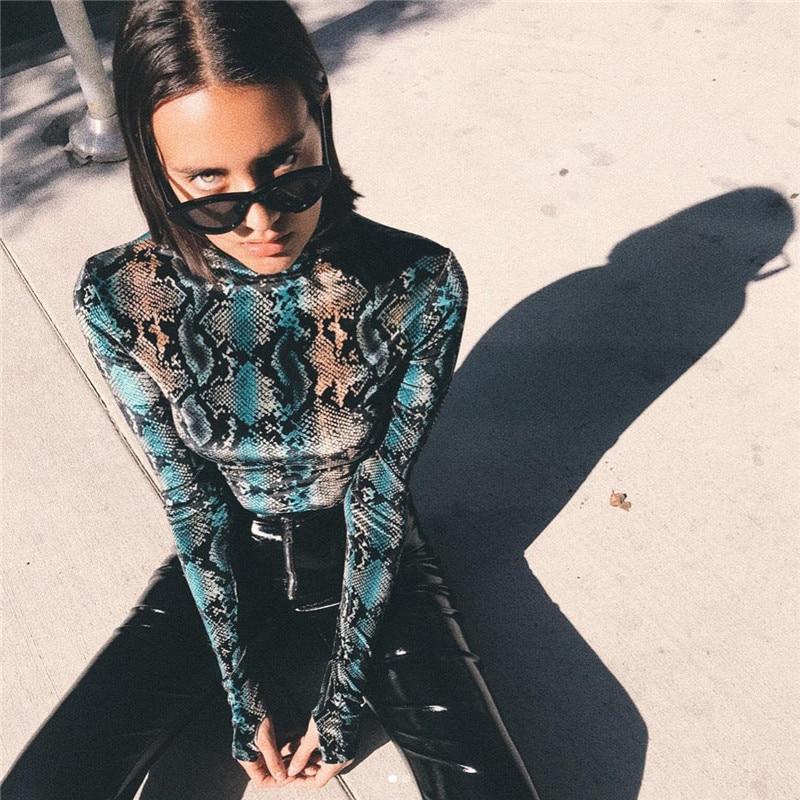 602626bebdd NCLAGEN 2018 Women Sexy Snake Skin Print Jumpsuit Long Sleeve Slim Fit  Serpentine Romper Bodysuits Skinny Turtleneck Playsuit-in Bodysuits from  Women s ...