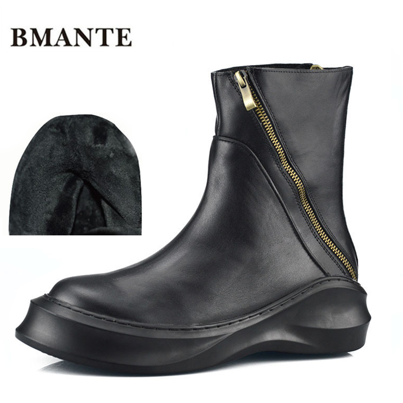 Real leather brand fashion male Casual shoe tall high top Thick sole Platform Harajuku boot men with Faux Fur style ug Australia