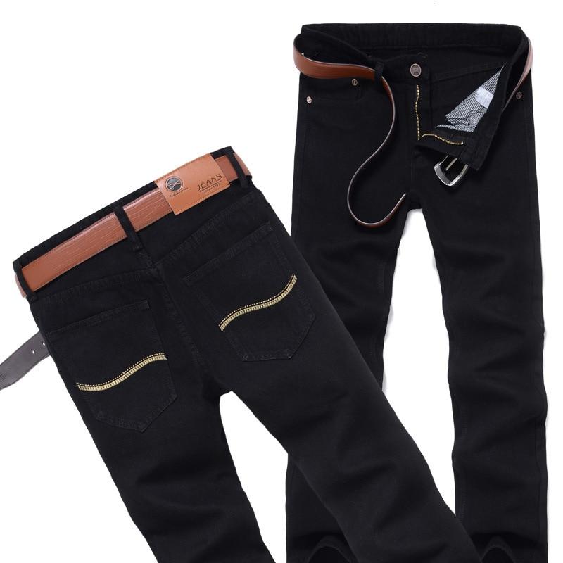 DLIXZI Brand Autumn Black Jeans Men Straight Classical Denim Long Pants Slim Big Size Biker Male Cowboy Trousers Fashion 2017 famous brand trousers men blue slim denim pants casual big size biker jeans designer classical fashion jean homme