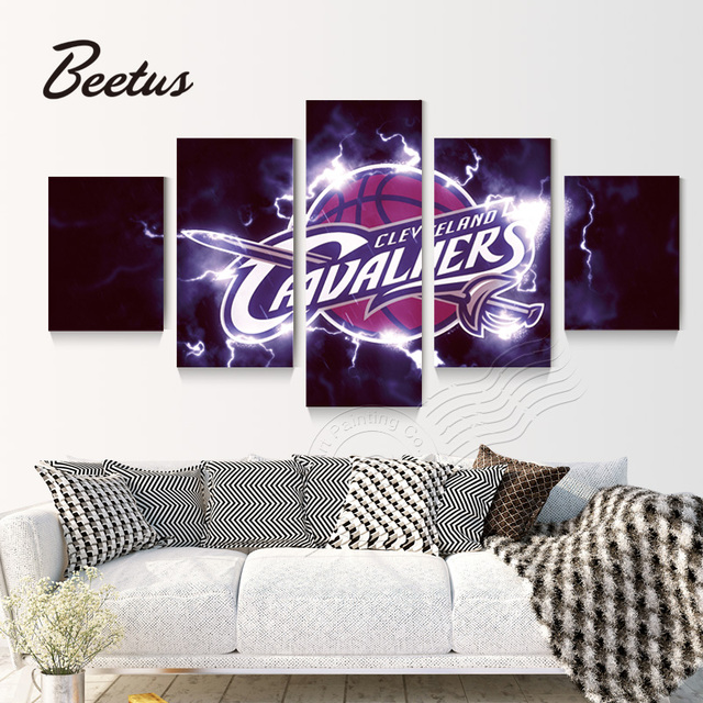 5 Painel Wall Art Jogo Cleveland Cavaliers Logo Basketball Sports Canvas  Poster Para Parede Da Sala