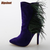 Fashion Purple Suede Leather Women Pointy Toe Ankle Boots Dark Green Feather Patchwork Ladies High Heel Boots Knight Boots