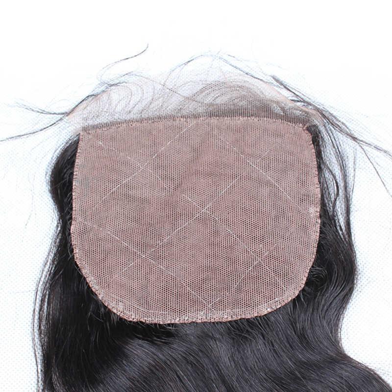Шелковая основа закрытие бразильские волнистые 100% человеческие волосы с детскими волосами скрытые узлы Dolago девственные волосы Шелковый Топ Кружева Закрытие