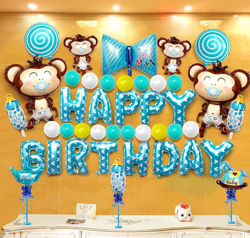 Baby S First Birthday Decorations 1st Birthday Decoration Kit In Beautiful Pastel Colors Ft Giant Number One Mylar Balloon Ballons Accessories Aliexpress