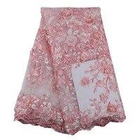 Wysokiej jakości Różowy Afryki koronki tkaniny materiał siatki 3d Stereo kwiaty haftowane gipiury francuski netto z koraliki do szycia sukni