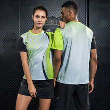 Спортивная рубашка для настольного тенниса с принтом, дышащие быстросохнущие рубашки для бадминтона с коротким рукавом, одежда для тенниса