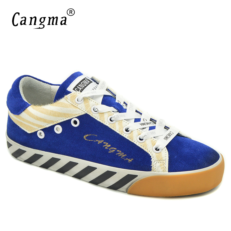 CANGMA High Quality Sneakers Women Flats Horsehair Blue Suede Leather Shoes Ladies Footwear Girls School Shoes Zebra PatternCANGMA High Quality Sneakers Women Flats Horsehair Blue Suede Leather Shoes Ladies Footwear Girls School Shoes Zebra Pattern
