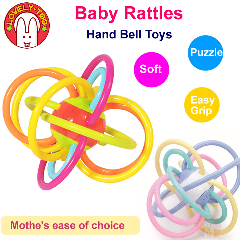 Baby Rattles Baby Toys 0-12 Months Plastic Teethers Babies Bitter Gum Gift Hand Bell Ball Mordant Educational Toy For Children