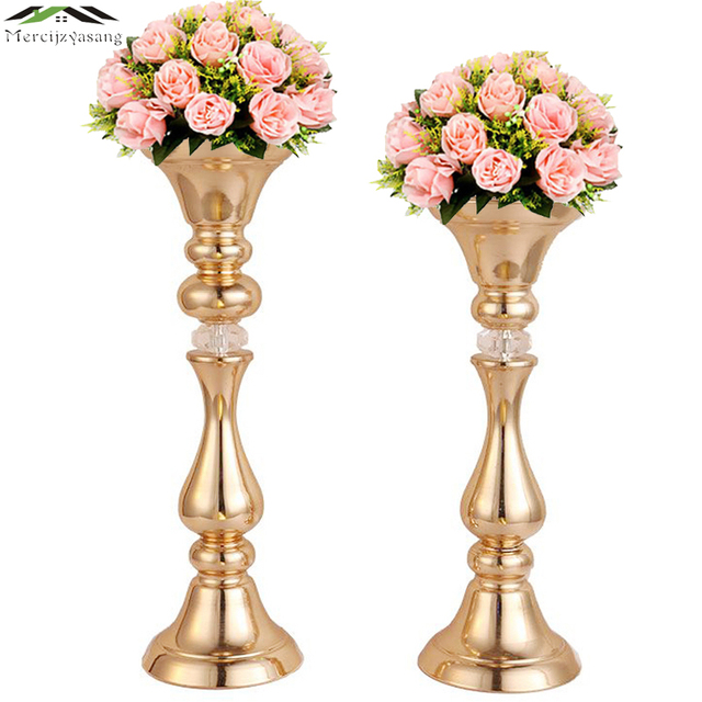 10PCS/LOT Flowers Vases Table Centerpiece Vase Metal Gold Tabletop Road Lead Type Flower Holder for Home/Wedding Decoration G032