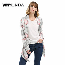 vestlinda spring casual cardigan women pink long cardigan  sweater collarless long sleeve asymmetrical print knit cardigan