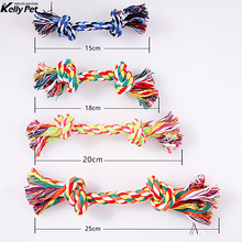 Pet Dog Toy Double Knot Cotton Rope Braided Bone Shape Puppy Teeth Cleaning Chew For Training 4 Size Free Shipping 1pc