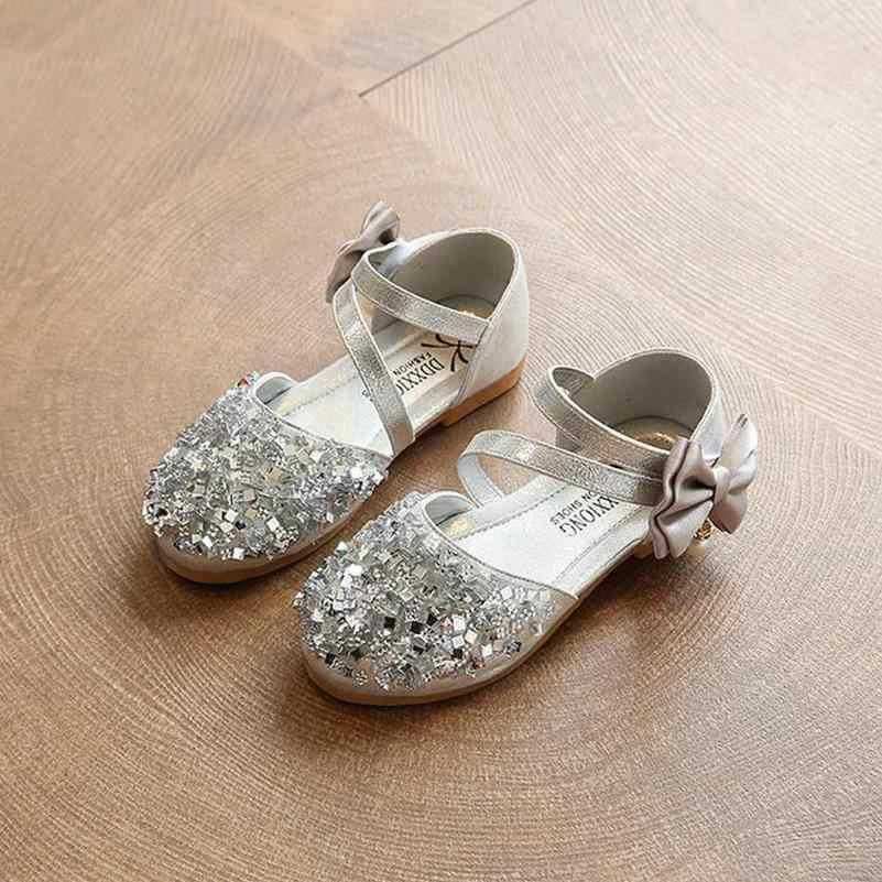 6a501bbc5898 ... Children Fashion Sandals Kids 2018 Han Edition Girls Princess  Rhinestone Soft shoes Bright Cute Bowknot Baby ...
