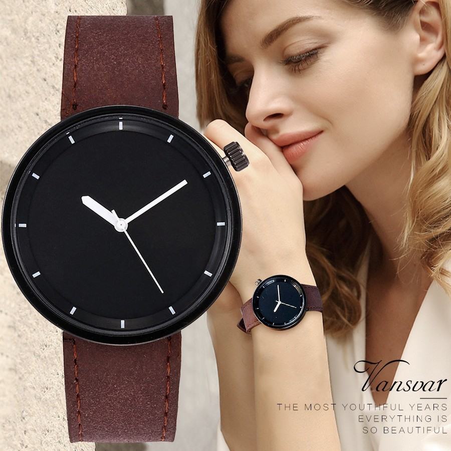 Vansvar Brand Fashion Women Men Wristwatches Simple Style Ladies Leather Quartz Watch Female Clock Relogio Feminino Montre Femme