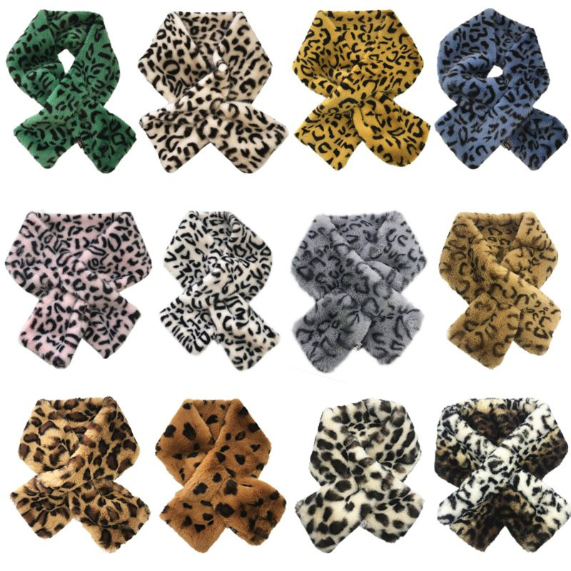 12x80cm Women's Winter Rabbit Fake Faux Fur Leopard Print   Scarf     Wrap   Collar For Lady Gift
