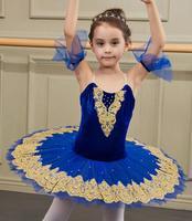 Blue Velvet Professional Ballerina Ballet Tutu For Child Children Kids Girls Adult Women Pancake Tutu Dance Costume Ballet Dress