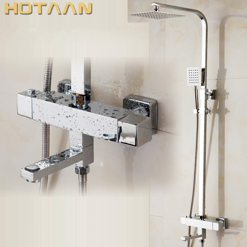 Free Shipping Wall Mounted Two Handle Thermostatic Shower faucet Thermostatic mixer , Shower Taps Chrome Finish,YT-5334 modern thermostatic shower mixer faucet wall mounted temperature control handheld tub shower faucet chrome finish