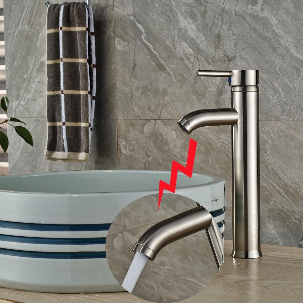 Nickel Brushed Brass Bathroom Basin Faucet Basin Vanity Sink Mixer Tap 1 Handle