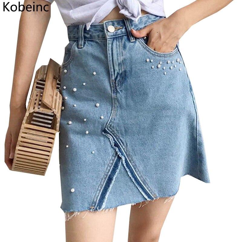 kobeinc design pearl decorated denim skirts for a
