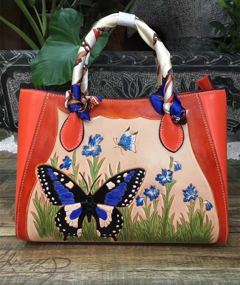 2017 popular Italian vegetable tanned cowhide hand carve butterfly female saffiano leather handbags hand carved italian vegetable tanned cowhide fashion leather bags handbags women