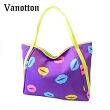 Fashion Brand Female Lip Prints Waterproof Tote Bag for Women PU Leather Shopping Shoulder Bag Handbag Ladies Messenger Bag