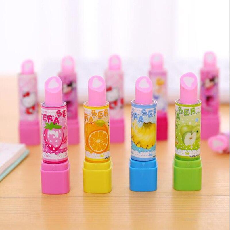 2 Pieces / Piece Cute Animal Lipstick Eraser Kawaii Fruit Pencil Eraser Children Korean Stationery Canetas Office School Supplie