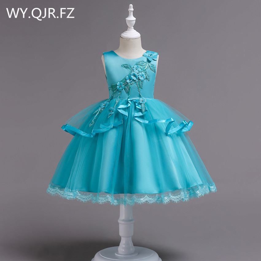 BH725K#  Flower     Girl     Dresses   blue pink Medium Big size children irregular gauze princess party prom Christmas performance   dress