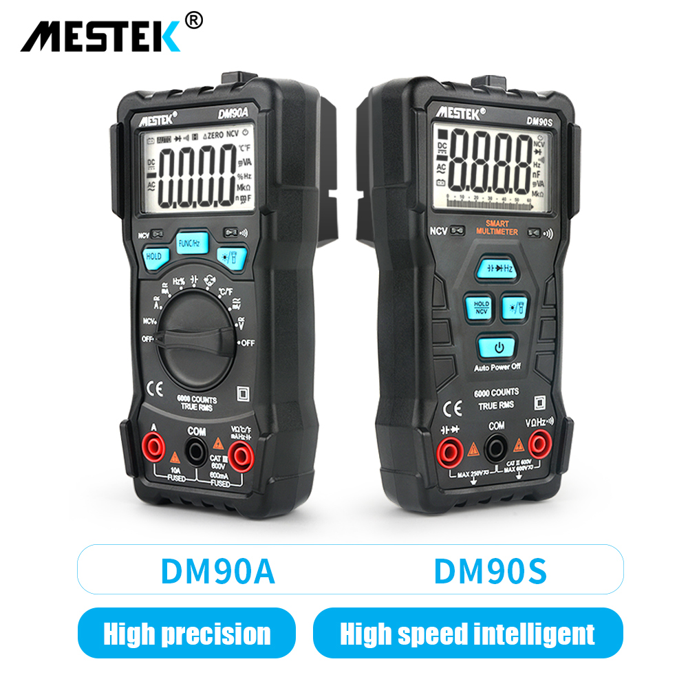 MESTEK Intelligent Multimeter DM90A/DM90S High Speed Automatic Smart Multimeter Anti-burning NCV True RMS Digital Multimetro